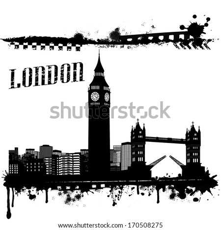 Grunge London cityscape background on white, vector illustration - stock vector