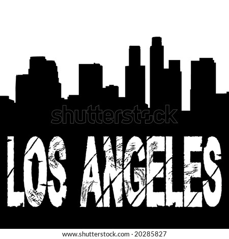 grunge Los Angeles text with skyline illustration - stock vector