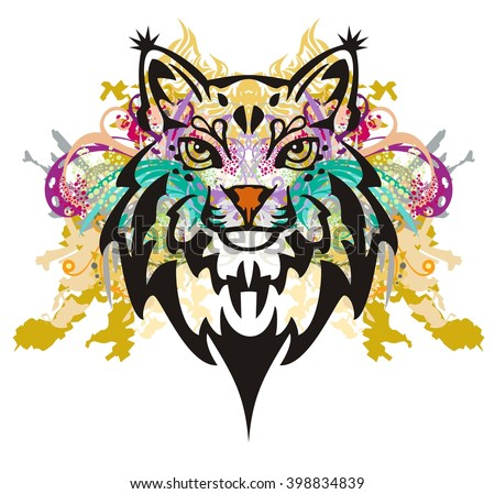 Grunge lynx head. Colorful splashes of a lynx head on a white background - stock vector
