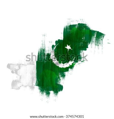 Grunge map of Pakistan with Pakistanian flag - stock vector