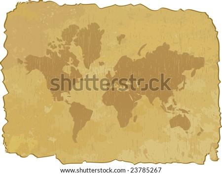 Grunge map of world. Vector illustration - stock vector