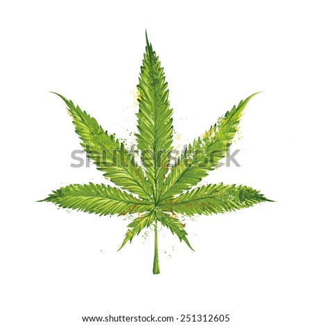 Grunge marijuana leaf. Vector illustration.