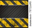 Grunge metal plate with construction warning stripes - stock photo