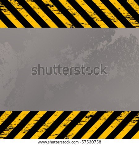 Grunge metal plate with construction warning stripes