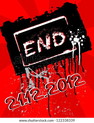 grunge movie ending screen - Editable Vector EPS10 - stock vector