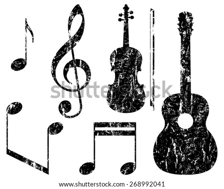 grunge music elements, guitar, violin, treble clef and notes, isolated illustration  - stock vector