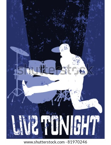 Grunge music poster - stock vector