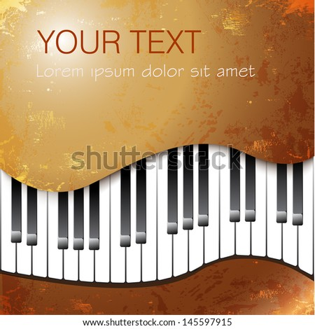 Grunge musical background with piano keys. Vector illustration - stock vector