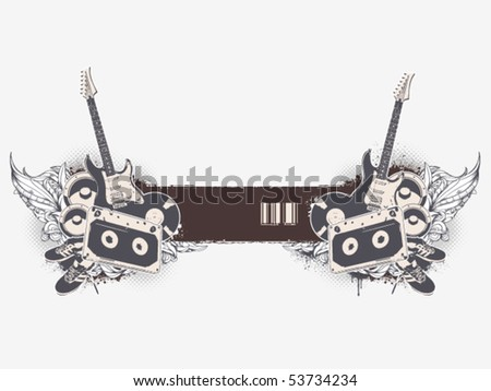 Grunge musical banner with bizarre pattern. Vector illustration. - stock vector