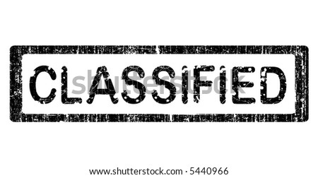 Grunge Office Stamp with the words CLASSIFIED in a grunge splattered text. (Letters have been uniquely designed and created by hand) - stock vector
