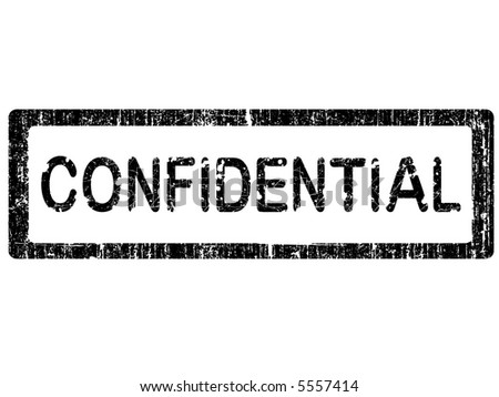Grunge Office Stamp with the words CONFIDENTIAL in a grunge splattered text. (Letters have been uniquely designed and created by hand) - stock vector