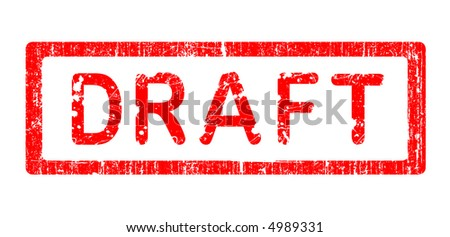 Grunge Office Stamp with the words DRAFT in a grunge splattered text. (Letters have been uniquily designed and created by hand) - stock vector