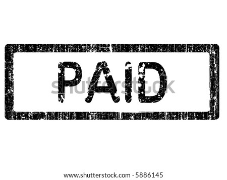 Grunge Office Stamp with the words PAID in a grunge splattered text. (Letters have been uniquely designed and created by hand) - stock vector