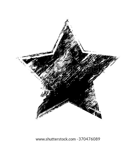 grunge old black star texture, symbol background, vector illustration design element icon - stock vector