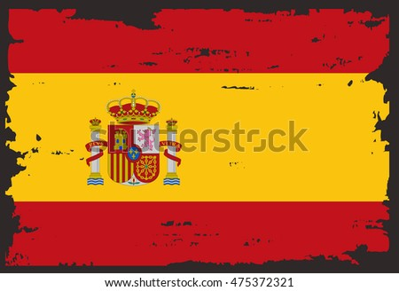 Grunge Old Spanish flag.Vector template.