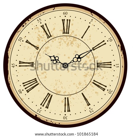 Grunge Old Vintage Clock Face Stock Vector 101865184 ...