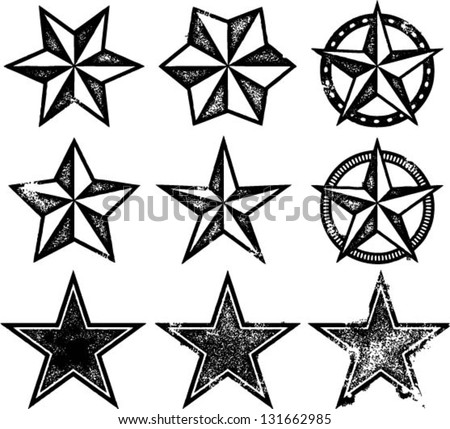 Grunge Old Western Stars - stock vector