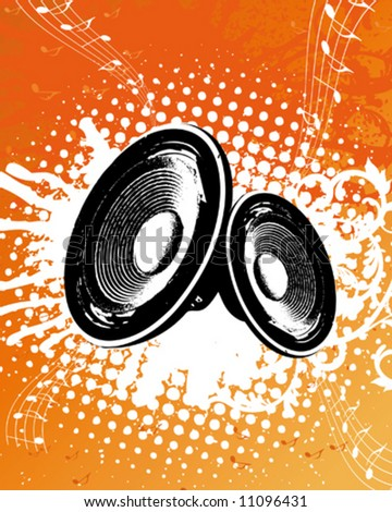 Grunge Orange Party Speaker - stock vector