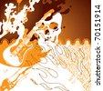 Grunge orange rock and roll background. Vector illustration. - stock photo
