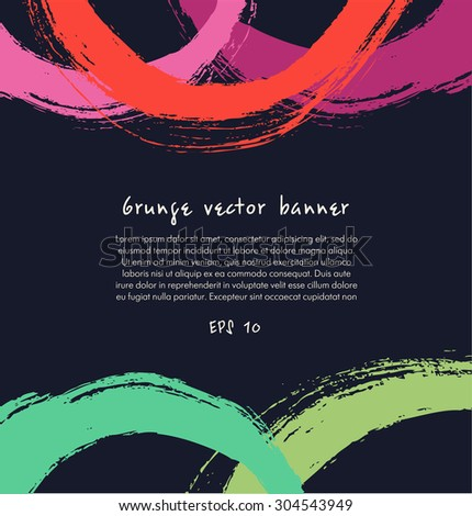 Grunge paint banner. Artistic colorful background with drawn circles - stock vector