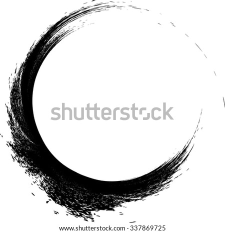 Grunge Paint Brush . Curved  Stroke . Vector Logo Design Template . Twirl Shapes .