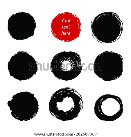 Grunge paint circle vector elements set. 9 Black Circle brush strokes as frames and One Red. Hand drawn vector illustration.EPS 8. Isolated on white. - stock vector