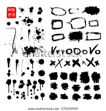 Grunge paint. Ink drops. Design element set. Hand drawn Brush texture. Vector Illustration, Isolated on white