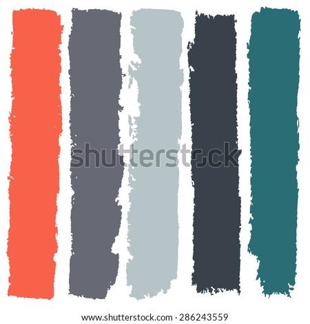 Grunge paint roller strokes, brush strokes - stock vector