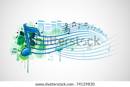 Grunge paint splat music note design banner - stock vector