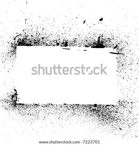Grunge paint splatter and drip frame vector - stock vector