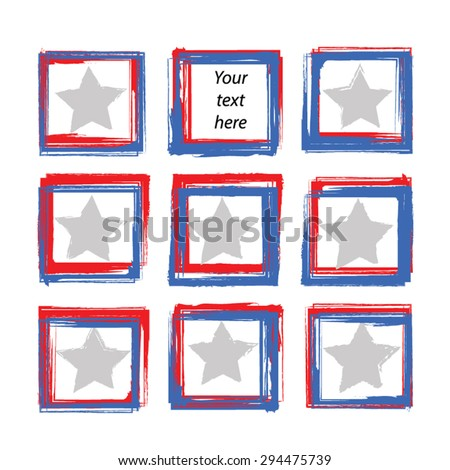 Grunge paint square vector elements set. Star and stripes.Blue and red brush strokes as frames. Hand drawn border vector illustration. American flag color - USA concept. EPS 8. Isolated on white.