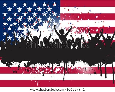 Grunge party people on an American flag background - stock vector