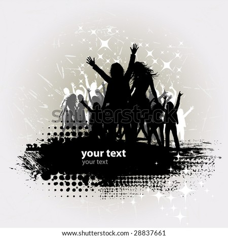 Grunge Party peoples, audience cheering success vector background - stock vector