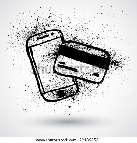 Grunge phone with credit card on a white background. - stock vector