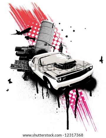 Grunge Pink Car City - stock vector