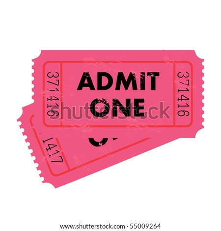 Grunge Pink Ticket - stock vector
