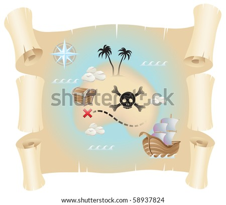 Grunge pirate map isolated on a white background - stock vector
