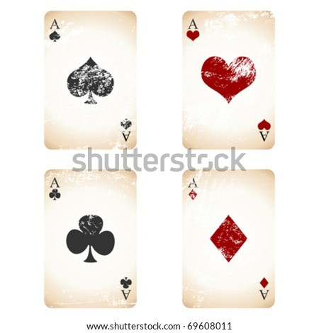 Grunge playing cards over white square background - stock vector