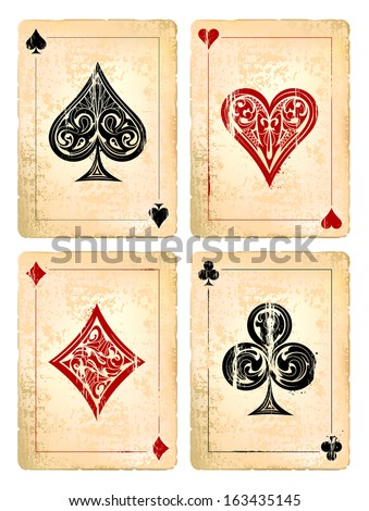 Grunge poker cards vector set. Vector illustration.  - stock vector