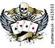 grunge poker emblem - stock vector