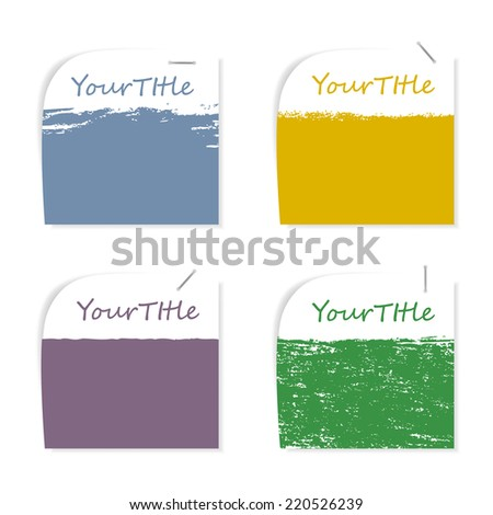 grunge post it memo stapler vector set - stock vector