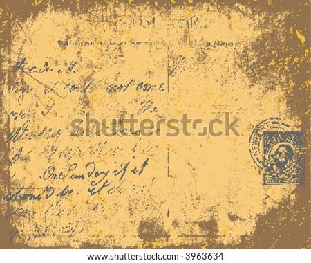 Grunge Postcard, Vector Background - stock vector