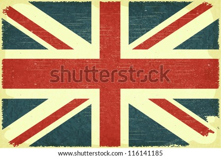Grunge poster - British flag in Retro style - Vector illustration - stock vector