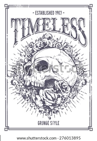 Grunge poster with skull, roses and floral patterns. Vector illustration. - stock vector
