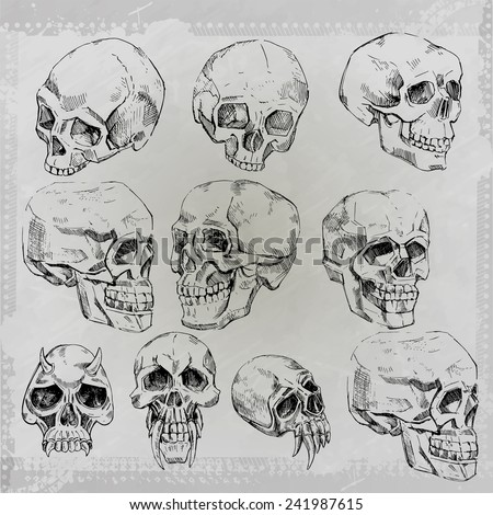 grunge print for t-shirt skull  - stock vector