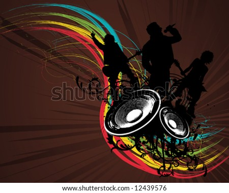 Grunge Rainbow Rock Band - stock vector