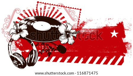 grunge red banner with music spirit - stock vector