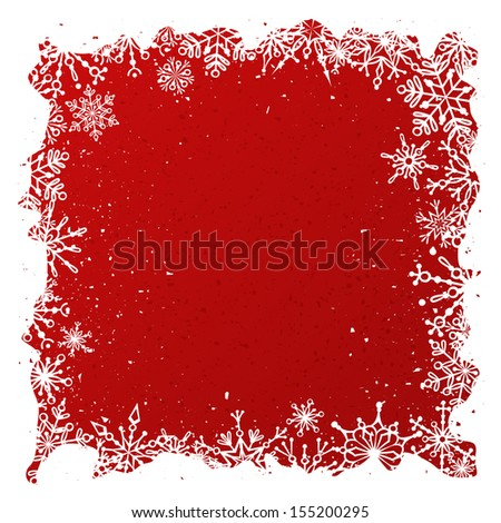 Grunge red Christmas background. Ornate white snowflakes on red background. Christmas template with place for your text on red area.