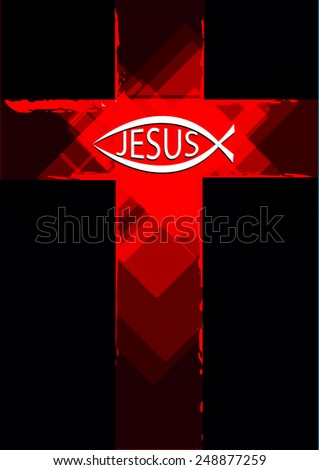 Grunge Red Cross with a Ichthys Fish symbol and Jesus Text - stock vector