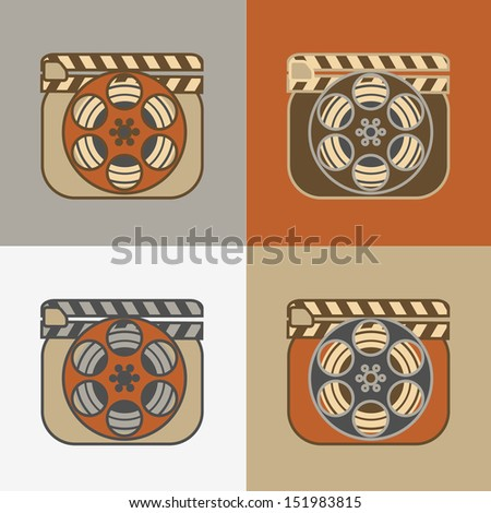 Grunge retro cinema icons: film reel with clapperboard - stock vector